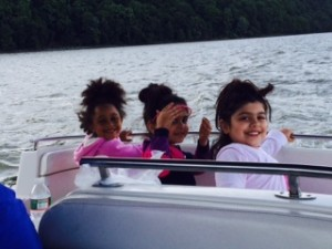 Ella and her friends on the boat.